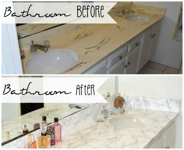 DIY Faux Marble Ideas - Master Bathroom Marble Vanity Makeover - Easy Crafts and DIY Projects With Faux Marbling Tutorials - Paint and Decorate Home Decor, Creative DIY Gifts and Office Accessories