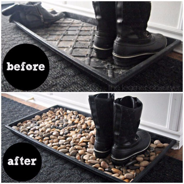Pebble and Stone Crafts - Mudroom Pebble Mat - DIY Ideas Using Rocks, Stones and Pebble Art - Mosaics, Craft Projects, Home Decor, Furniture and DIY Gifts You Can Make On A Budget #crafts