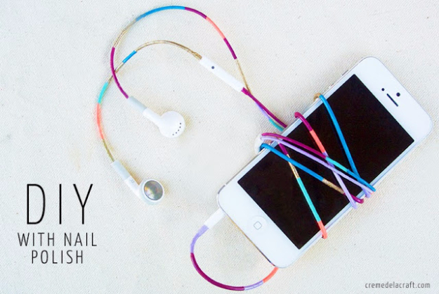 DIY Phone Hacks - Nail Polish Colored Headphones - Cool Tips and Tricks for Phones, Headphones and iPhone How To - Make Speakers, Change Settings, Know Secrets You Can Do With Your Phone By Learning This Cool Stuff - DIY Projects and Crafts for Men and Women http://diyjoy.com/diy-iphone-hacks