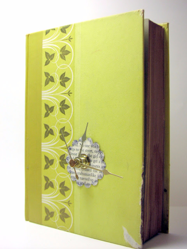 DIY Projects Made With Old Books - Old Book Clock - Make DIY Gifts, Crafts and Home Decor With Old Book Pages and Hardcover and Paperbacks - Easy Shelving, Decorations, Wall Art and Centerpices with BOOKS http://diyjoy.com/diy-projects-old-books