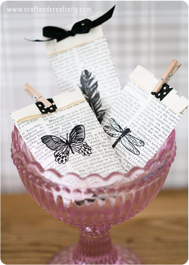 DIY Projects Made With Old Books - Old Book Gift Bags - Make DIY Gifts, Crafts and Home Decor With Old Book Pages and Hardcover and Paperbacks - Easy Shelving, Decorations, Wall Art and Centerpices with BOOKS http://diyjoy.com/diy-projects-old-books