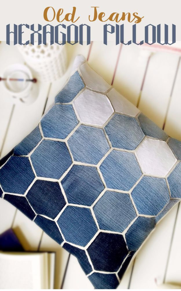 Sewing Projects for The Patio - Old Jeans Hexagonal Pillow - Step by Step Instructions and Free Patterns for Cushions, Pillows, Seating, Sofa and Outdoor Patio Decor - Easy Sewing Tutorials for Beginners - Creative and Cheap Outdoor Ideas for Those Who Love to Sew - DIY Projects and Crafts by DIY JOY #diydecor #diyhomedecor #sewing