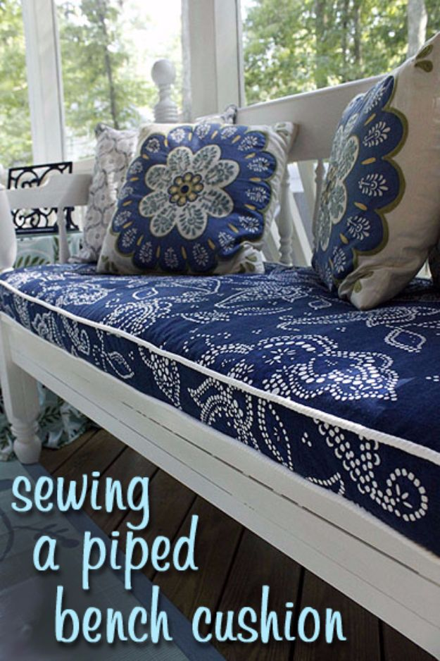 Sewing Projects for The Patio - Outdoor Bench Cushion With Piping - Step by Step Instructions and Free Patterns for Cushions, Pillows, Seating, Sofa and Outdoor Patio Decor - Easy Sewing Tutorials for Beginners - Creative and Cheap Outdoor Ideas for Those Who Love to Sew - DIY Projects and Crafts by DIY JOY #diydecor #diyhomedecor #sewing
