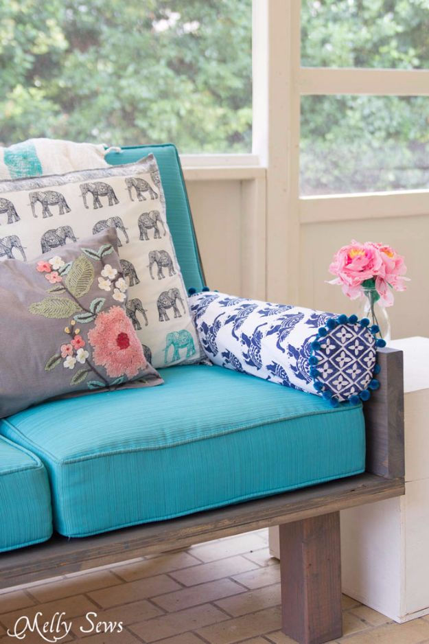 Sewing Projects for The Patio - Outdoor Bolster Pillow - Step by Step Instructions and Free Patterns for Cushions, Pillows, Seating, Sofa and Outdoor Patio Decor - Easy Sewing Tutorials for Beginners - Creative and Cheap Outdoor Ideas for Those Who Love to Sew - DIY Projects and Crafts by DIY JOY #diydecor #diyhomedecor #sewing