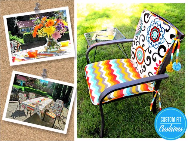 Sewing Projects for The Patio - Outdoor Chair Cushions with Pom Ties - Step by Step Instructions and Free Patterns for Cushions, Pillows, Seating, Sofa and Outdoor Patio Decor - Easy Sewing Tutorials for Beginners - Creative and Cheap Outdoor Ideas for Those Who Love to Sew - DIY Projects and Crafts by DIY JOY #diydecor #diyhomedecor #sewing