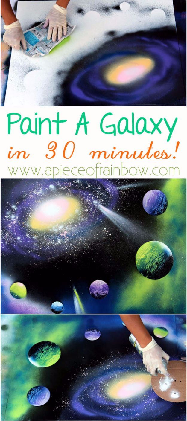 Spray Painting Tips and Tricks - Paint A Galaxy In 30 Minutes - Home Improvement Ideas and Tutorials for Spray Painting Furniture, House, Doors, Trim, Windows and Walls - Step by Step Tutorials and Best How To Instructions - DIY Projects and Crafts by DIY JOY #diyideas