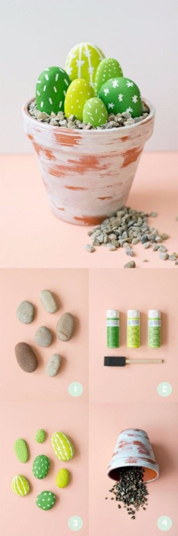 Pebble and Stone Crafts - Painted Cactus Rocks - DIY Ideas Using Rocks, Stones and Pebble Art - Mosaics, Craft Projects, Home Decor, Furniture and DIY Gifts You Can Make On A Budget #crafts