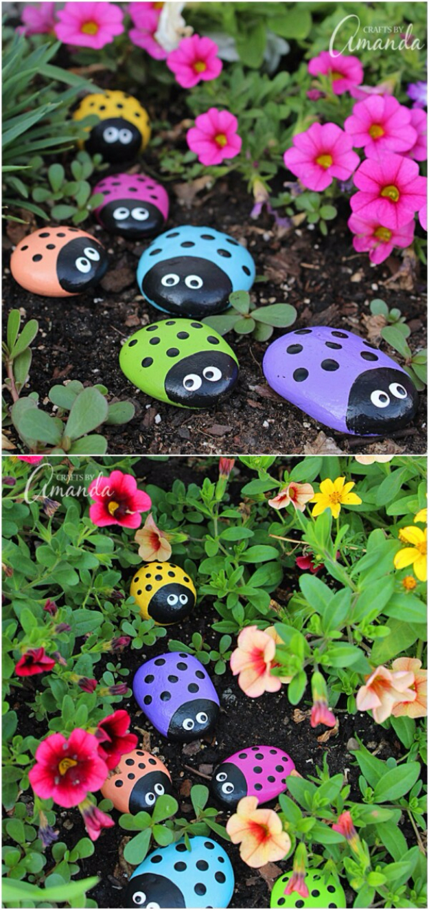Pebble and Stone Crafts - Painted Ladybug Rocks - DIY Ideas Using Rocks, Stones and Pebble Art - Mosaics, Craft Projects, Home Decor, Furniture and DIY Gifts You Can Make On A Budget #crafts