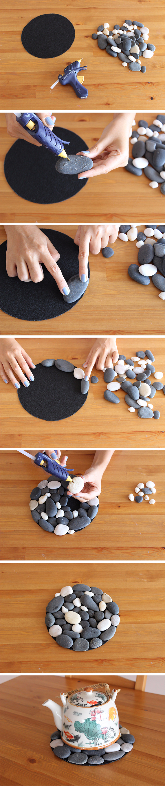 Pebble and Stone and Rock Crafts - Pebble Coasters - DIY Ideas Using Rocks, Stones and Pebble Art - Mosaics, Craft Projects, Home Decor, Furniture and DIY Gifts You Can Make On A Budget #crafts
