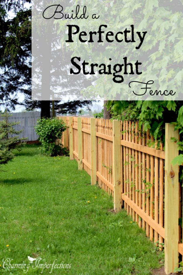 DIY Fences and Gates - Perfectly Straight Fence - How To Make Easy Fence and Gate Project for Backyard and Home - Step by Step Tutorial and Ideas for Painting, Updating and Making Fences and DIY Gate - Cool Outdoors and Yard Projects http://diyjoy.com/diy-fences-gates