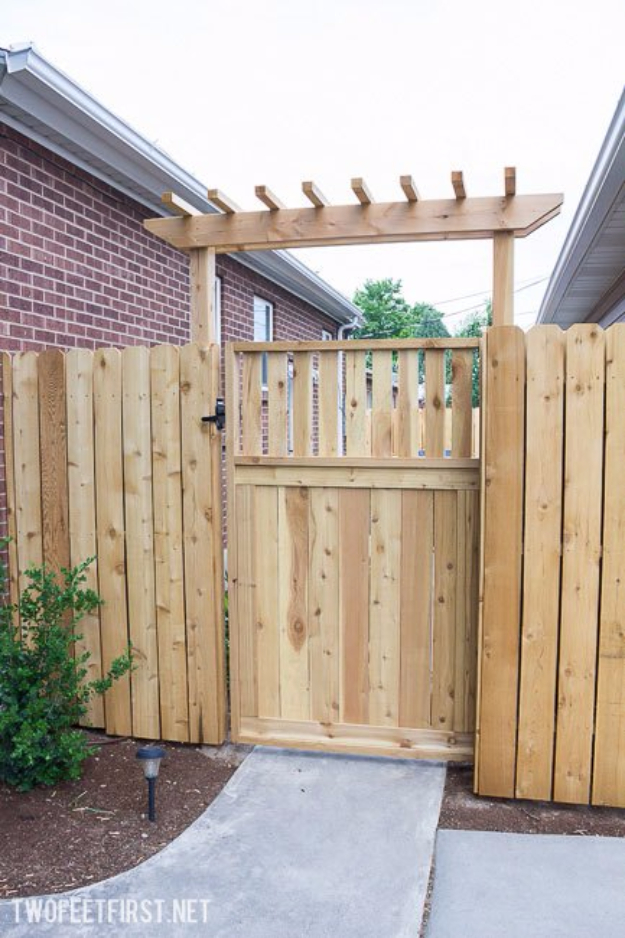 DIY Fences and Gates - Pergola Gate - How To Make Easy Fence and Gate Project for Backyard and Home - Step by Step Tutorial and Ideas for Painting, Updating and Making Fences and DIY Gate - Cool Outdoors and Yard Projects http://diyjoy.com/diy-fences-gates