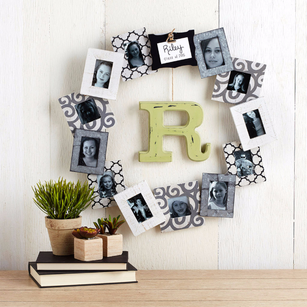 DIY Photo Crafts and Projects for Pictures - Personalized Photo Frame Wreath - Handmade Picture Frame Ideas and Step by Step Tutorials for Making Cool DIY Gifts and Home Decor - Cheap and Easy Photo Frames, Creative Ways to Frame and Mount Photos on Canvas and Display Them In Your House