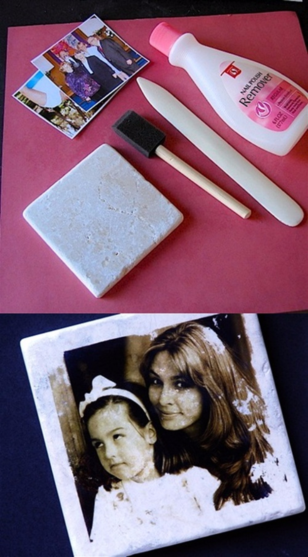DIY Photo Crafts and Projects for Pictures - Photo Tile Transfer - Handmade Picture Frame Ideas and Step by Step Tutorials for Making Cool DIY Gifts and Home Decor - Cheap and Easy Photo Frames, Creative Ways to Frame and Mount Photos on Canvas and Display Them In Your House http://diyjoy.com/handmade-photo-crafts