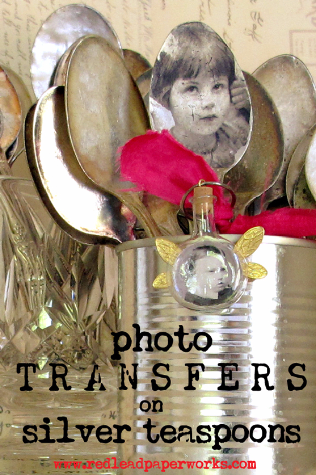 DIY Photo Crafts and Projects for Pictures - Photo Transfers on Silver Teaspoons - Handmade Picture Frame Ideas and Step by Step Tutorials for Making Cool DIY Gifts and Home Decor - Cheap and Easy Photo Frames, Creative Ways to Frame and Mount Photos on Canvas and Display Them In Your House