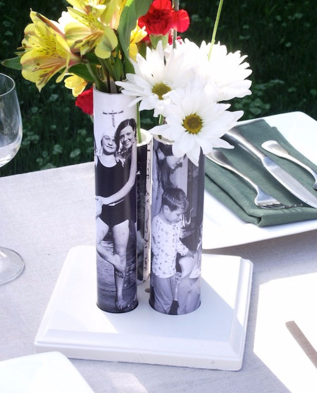 DIY Photo Crafts and Projects for Pictures - Photo Vases From PVC Pipe - Handmade Picture Frame Ideas and Step by Step Tutorials for Making Cool DIY Gifts and Home Decor - Cheap and Easy Photo Frames, Creative Ways to Frame and Mount Photos on Canvas and Display Them In Your House http://diyjoy.com/handmade-photo-crafts