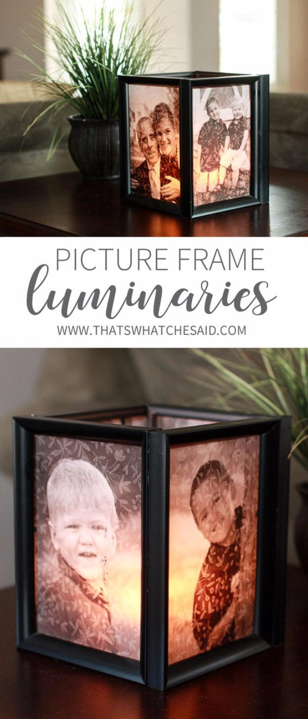 DIY Photo Crafts and Projects for Pictures - Picture Frame Luminaries - Handmade Picture Frame Ideas and Step by Step Tutorials for Making Cool DIY Gifts and Home Decor - Cheap and Easy Photo Frames, Creative Ways to Frame and Mount Photos on Canvas and Display Them In Your House