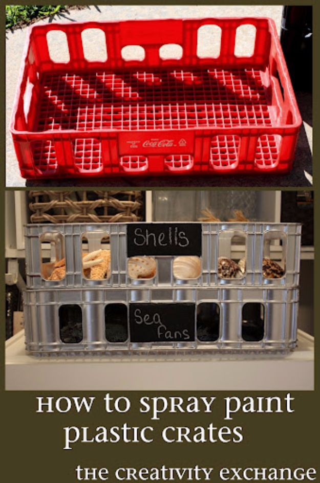 Spray Painting Tips and Tricks - Plastic Crate Revamp - Home Improvement Ideas and Tutorials for Spray Painting Furniture, House, Doors, Trim, Windows and Walls - Step by Step Tutorials and Best How To Instructions - DIY Projects and Crafts by DIY JOY #diyideas