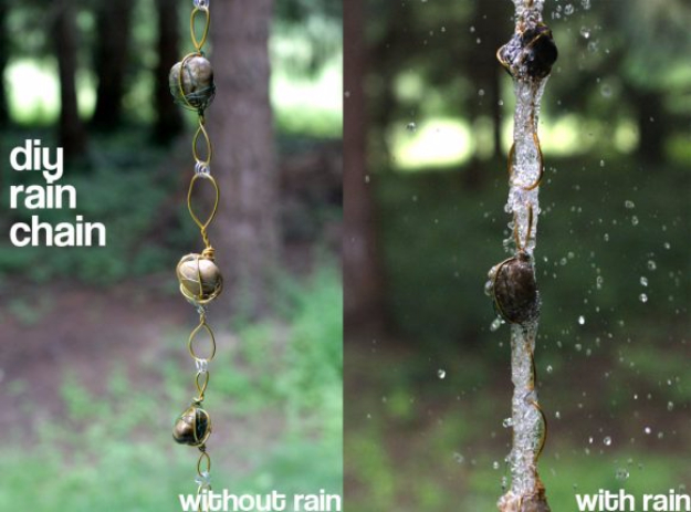 Pebble and Stone Crafts - Rain Chain From Wire Wrapped Rocks - DIY Ideas Using Rocks, Stones and Pebble Art - Mosaics, Craft Projects, Home Decor, Furniture and DIY Gifts You Can Make On A Budget #crafts