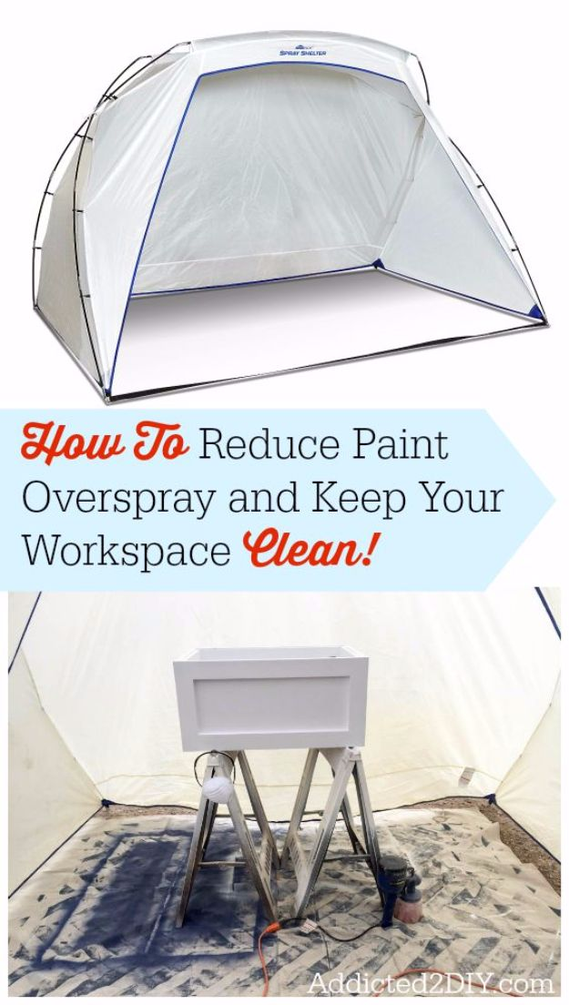 Spray Painting Tips and Tricks - Reduce Overspray - Home Improvement Ideas and Tutorials for Spray Painting Furniture, House, Doors, Trim, Windows and Walls - Step by Step Tutorials and Best How To Instructions - DIY Projects and Crafts by DIY JOY #diyideas