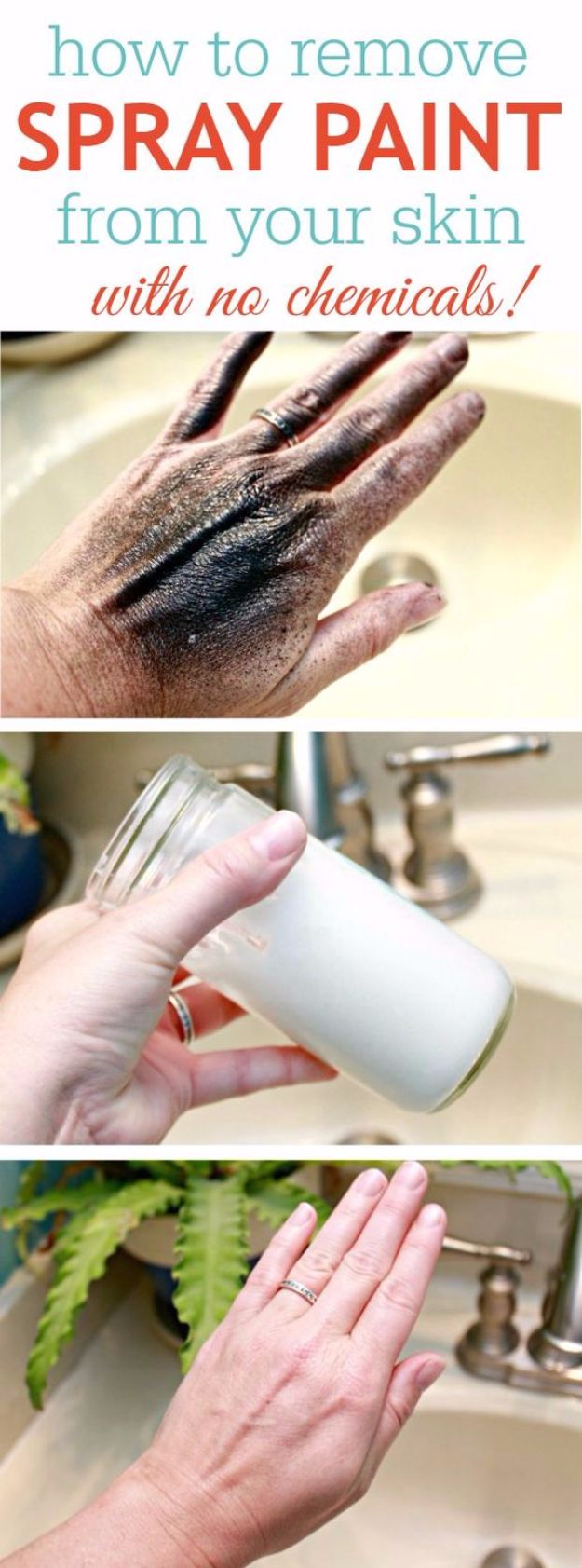 Spray Painting Tips and Tricks - Remove Spray Paint From Your Skn With No Chemicals - Home Improvement Ideas and Tutorials for Spray Painting Furniture, House, Doors, Trim, Windows and Walls - Step by Step Tutorials and Best How To Instructions - DIY Projects and Crafts by DIY JOY http://diyjoy.com/spray-painting-tips-tricks