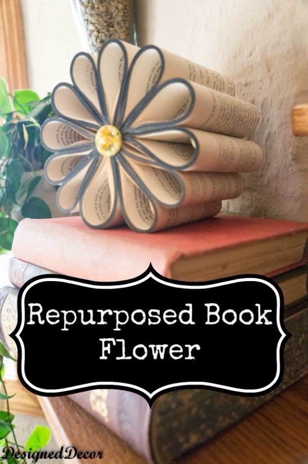 DIY Projects Made With Old Books - Repurposed Book Flower - Make DIY Gifts, Crafts and Home Decor With Old Book Pages and Hardcover and Paperbacks - Easy Shelving, Decorations, Wall Art and Centerpices with BOOKS http://diyjoy.com/diy-projects-old-books