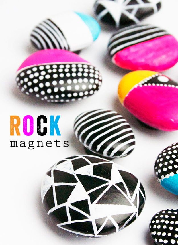 Pebble and Stone Crafts - Rock Magnets - DIY Ideas Using Rocks, Stones and Pebble Art - Mosaics, Craft Projects, Home Decor, Furniture and DIY Gifts You Can Make On A Budget #crafts