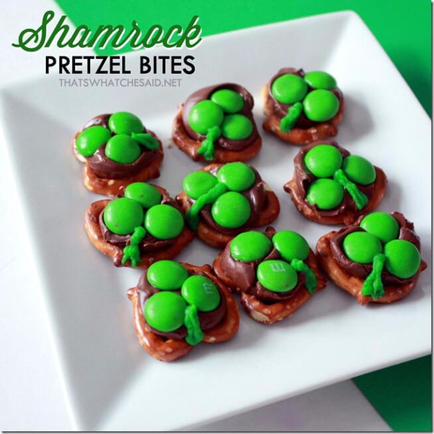 DIY St Patricks Day Ideas - Shamrock Pretzel Bites - Food and Best Recipes, Decorations and Home Decor, Party Ideas - Cupcakes, Drinks, Festive St Patrick Day Parties With these Easy, Quick and Cool Crafts and DIY Projects http://diyjoy.com/st-patricks-day-ideas