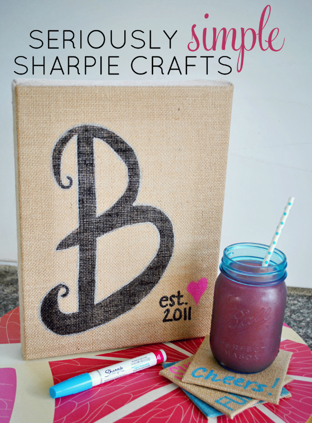 DIY Sharpie Crafts - Sharpie Burlap Home Decor - Cool and Easy Craft Projects and DIY Ideas Using Sharpies - Use Markers To Decorate and Design Home Decor, Cool Homemade Gifts, T-Shirts, Shoes and Wall Art. Creative Project Tutorials for Teens, Kids and Adults http://diyjoy.com/diy-sharpie-crafts