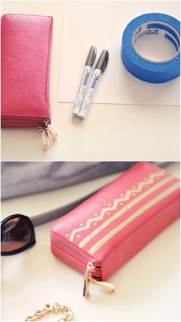 DIY Sharpie Crafts - Sharpie Chevron Wallet - Cool and Easy Craft Projects and DIY Ideas Using Sharpies - Use Markers To Decorate and Design Home Decor, Cool Homemade Gifts, T-Shirts, Shoes and Wall Art. Creative Project Tutorials for Teens, Kids and Adults http://diyjoy.com/diy-sharpie-crafts