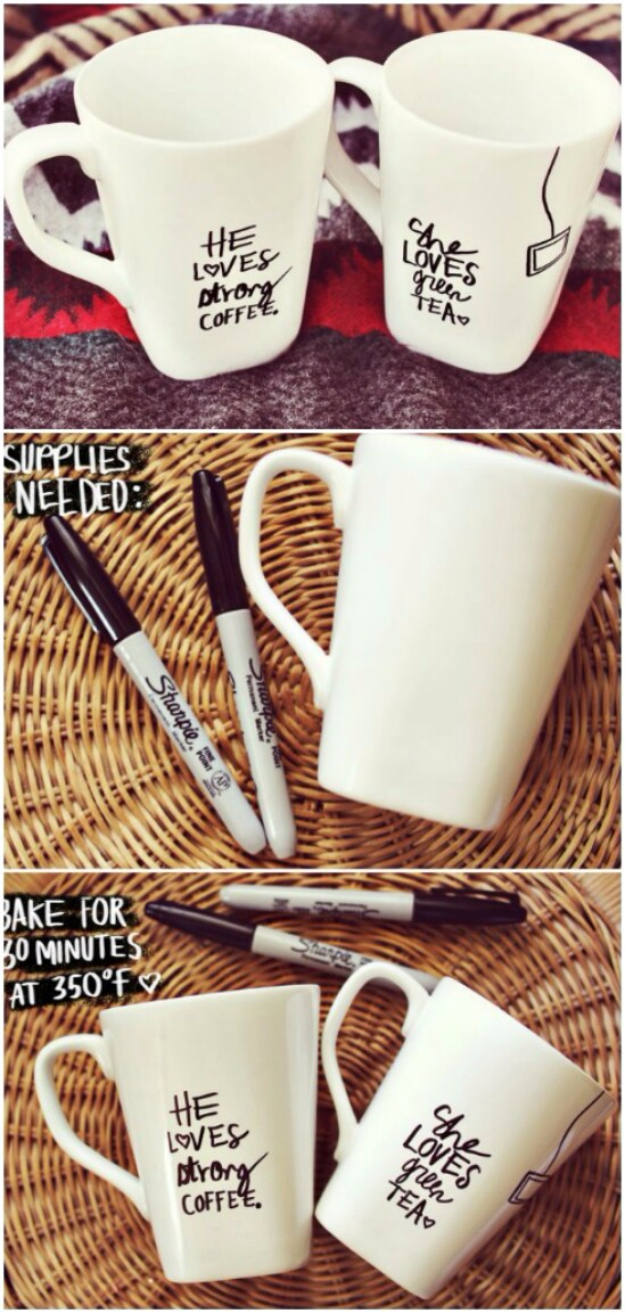DIY Sharpie Crafts - Sharpie Mug DIY - Cool and Easy Craft Projects and DIY Ideas Using Sharpies - Use Markers To Decorate and Design Home Decor, Cool Homemade Gifts, T-Shirts, Shoes and Wall Art. Creative Project Tutorials for Teens, Kids and Adults http://diyjoy.com/diy-sharpie-crafts