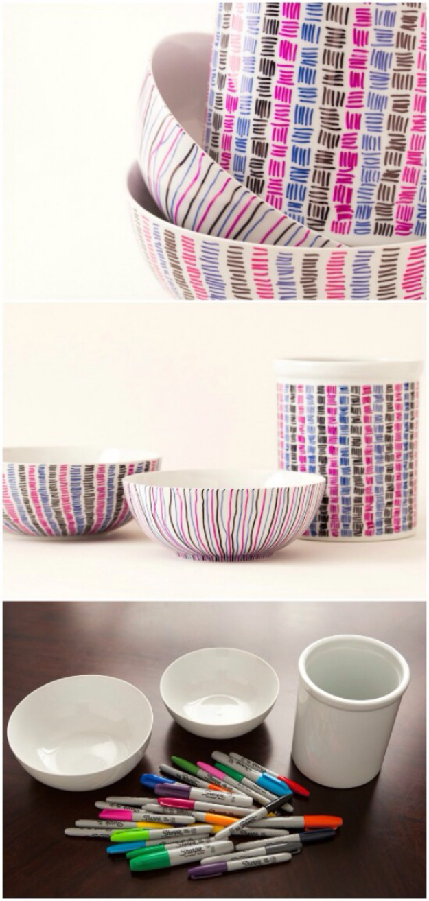 DIY Sharpie Crafts - Sharpie Patterned Ceramics - Cool and Easy Craft Projects and DIY Ideas Using Sharpies - Use Markers To Decorate and Design Home Decor, Cool Homemade Gifts, T-Shirts, Shoes and Wall Art. Creative Project Tutorials for Teens, Kids and Adults http://diyjoy.com/diy-sharpie-crafts