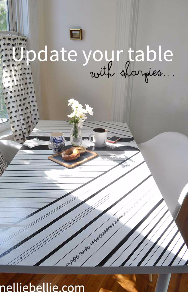 DIY Sharpie Crafts - Sharpie Table - Cool and Easy Craft Projects and DIY Ideas Using Sharpies - Use Markers To Decorate and Design Home Decor, Cool Homemade Gifts, T-Shirts, Shoes and Wall Art. Creative Project Tutorials for Teens, Kids and Adults http://diyjoy.com/diy-sharpie-crafts