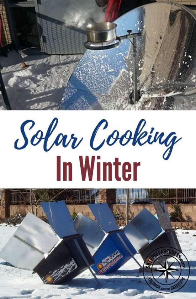 DIY Solar Powered Projects - Solar Cooking In Winter - Easy Solar Crafts and DYI Ideas for Making Solar Power Things You Can Use To Save Energy - Step by Step Tutorials for Making Things Without Batteries - DIY Projects and Crafts for Men and Women