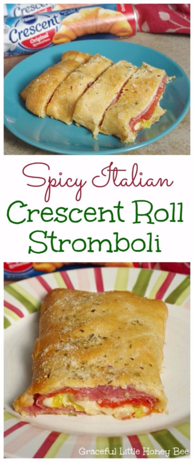 Best Crescent Roll Recipes - Spicy Italian Crescent Roll Stromboli - Easy Homemade Dinner Recipe Ideas With Cresent Rolls, Breakfast, Snack, Appetizers and Dessert - With Chicken and Ground Beef, Hot Dogs, Pizza, Garlic Taco, Sweet Desserts - DIY Projects and Crafts by DIY JOY http://diyjoy.com/crescent-roll-recipes