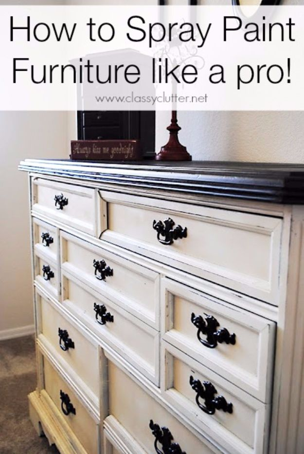 Spray Painting Tips and Tricks - Spray Paint A Furniture - Home Improvement Ideas and Tutorials for Spray Painting Furniture, House, Doors, Trim, Windows and Walls - Step by Step Tutorials and Best How To Instructions - DIY Projects and Crafts by DIY JOY http://diyjoy.com/spray-painting-tips-tricks