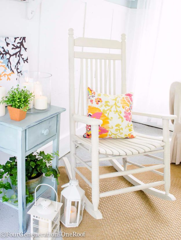 Spray Painting Tips and Tricks - Spray Paint A Rocking Chair - Home Improvement Ideas and Tutorials for Spray Painting Furniture, House, Doors, Trim, Windows and Walls - Step by Step Tutorials and Best How To Instructions - DIY Projects and Crafts by DIY JOY http://diyjoy.com/spray-painting-tips-tricks