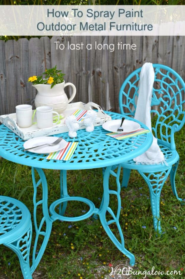 Spray Painting Tips and Tricks - Spray Paint Metal Outdoor Furniture To Last A Long Time - Home Improvement Ideas and Tutorials for Spray Painting Furniture, House, Doors, Trim, Windows and Walls - Step by Step Tutorials and Best How To Instructions - DIY Projects and Crafts by DIY JOY http://diyjoy.com/spray-painting-tips-tricks