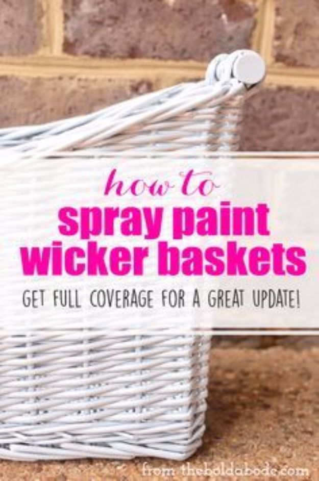 Spray Painting Tips and Tricks - Spray Paint Wicker Baskets - Home Improvement Ideas and Tutorials for Spray Painting Furniture, House, Doors, Trim, Windows and Walls - Step by Step Tutorials and Best How To Instructions - DIY Projects and Crafts by DIY JOY http://diyjoy.com/spray-painting-tips-tricks