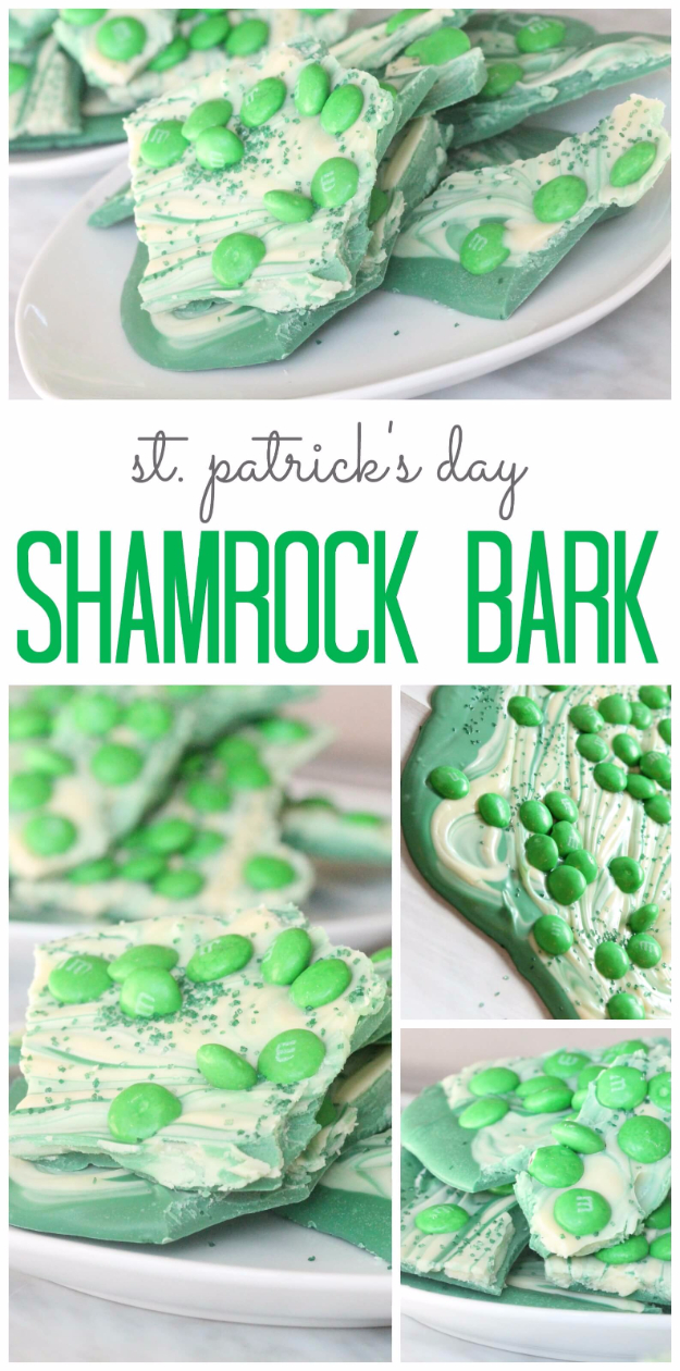 DIY St Patricks Day Ideas - St. Patrick's Day Shamrock Bark - Food and Best Recipes, Decorations and Home Decor, Party Ideas - Cupcakes, Drinks, Festive St Patrick Day Parties With these Easy, Quick and Cool Crafts and DIY Projects http://diyjoy.com/st-patricks-day-ideas