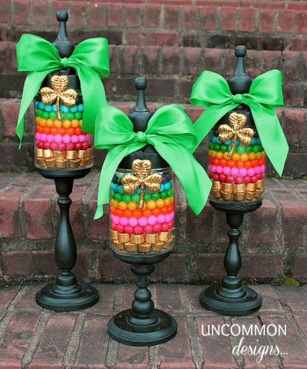 DIY St Patricks Day Ideas - St. Patrick's Day Apothecary Jars - Food and Best Recipes, Decorations and Home Decor, Party Ideas - Cupcakes, Drinks, Festive St Patrick Day Parties With these Easy, Quick and Cool Crafts and DIY Projects http://diyjoy.com/st-patricks-day-ideas