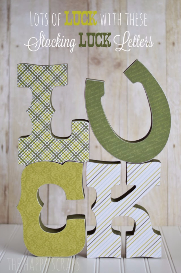 DIY St Patricks Day Ideas - Stacked Luck Letters - Food and Best Recipes, Decorations and Home Decor, Party Ideas - Cupcakes, Drinks, Festive St Patrick Day Parties With these Easy, Quick and Cool Crafts and DIY Projects http://diyjoy.com/st-patricks-day-ideas