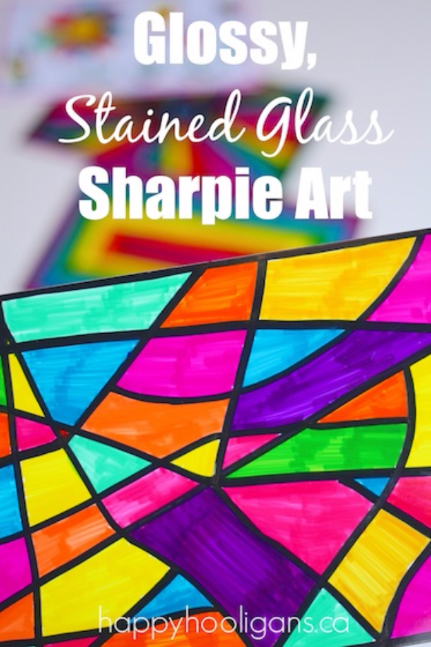DIY Sharpie Crafts - Stained Glass Sharpie Art - Cool and Easy Craft Projects and DIY Ideas Using Sharpies - Use Markers To Decorate and Design Home Decor, Cool Homemade Gifts, T-Shirts, Shoes and Wall Art. Creative Project Tutorials for Teens, Kids and Adults http://diyjoy.com/diy-sharpie-crafts