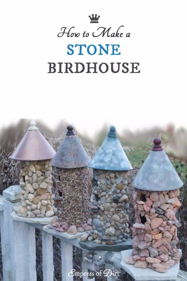 Pebble and Stone Crafts - Stone Birdhouse - DIY Ideas Using Rocks, Stones and Pebble Art - Mosaics, Craft Projects, Home Decor, Furniture and DIY Gifts You Can Make On A Budget #crafts