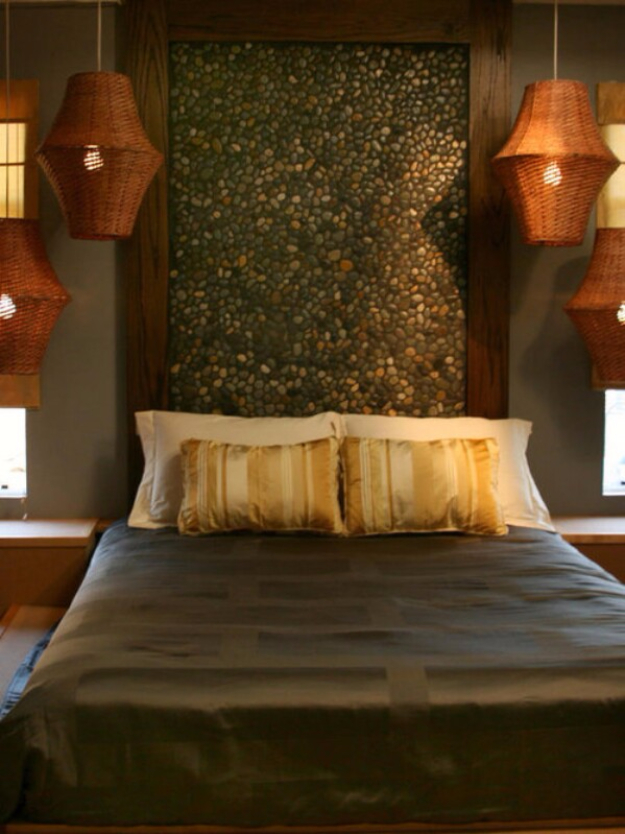 Pebble and Stone Crafts - Stone Headboard - DIY Ideas Using Rocks, Stones and Pebble Art - Mosaics, Craft Projects, Home Decor, Furniture and DIY Gifts You Can Make On A Budget #crafts