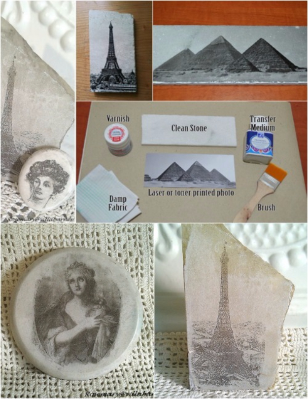 Pebble and Stone Crafts - Stone Photo Transfers - DIY Ideas Using Rocks, Stones and Pebble Art - Mosaics, Craft Projects, Home Decor, Furniture and DIY Gifts You Can Make On A Budget #crafts