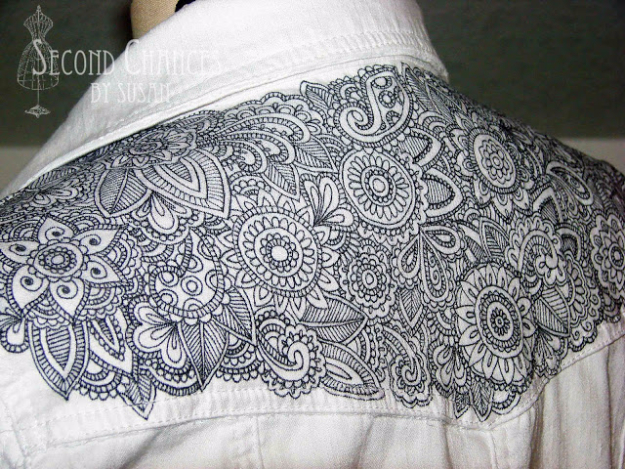 DIY Sharpie Crafts - Tattoed Denim Jacket - Cool and Easy Craft Projects and DIY Ideas Using Sharpies - Use Markers To Decorate and Design Home Decor, Cool Homemade Gifts, T-Shirts, Shoes and Wall Art. Creative Project Tutorials for Teens, Kids and Adults http://diyjoy.com/diy-sharpie-crafts