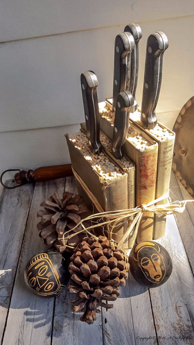 DIY Projects Made With Old Books - Turn Old Books into a Knife Block - Make DIY Gifts, Crafts and Home Decor With Old Book Pages and Hardcover and Paperbacks - Easy Shelving, Decorations, Wall Art and Centerpieces with BOOKS