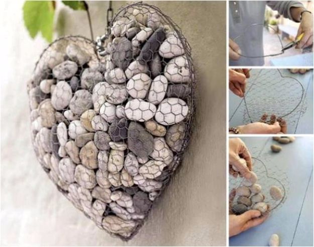 Pebble and Stone Crafts - Unique Stone Heart - DIY Ideas Using Rocks, Stones and Pebble Art - Mosaics, Craft Projects, Home Decor, Furniture and DIY Gifts You Can Make On A Budget #crafts