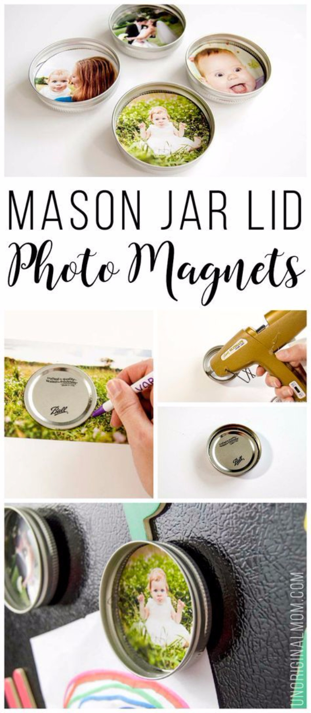 DIY Photo Crafts and Projects for Pictures - Upcycled Mason Jar Photo Lid Magnets - Handmade Picture Frame Ideas and Step by Step Tutorials for Making Cool DIY Gifts and Home Decor - Cheap and Easy Photo Frames, Creative Ways to Frame and Mount Photos on Canvas and Display Them In Your House