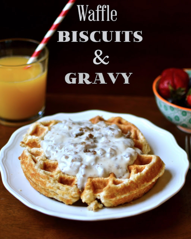 Waffle Iron Hacks and Easy Recipes for Waffle Irons - Waffle Biscuits And Gravy - Quick Ways to Make Healthy Meals in a Waffle Maker - Breakfast, Dinner, Lunch, Dessert and Snack Ideas - Homemade Pizza, Cinnamon Rolls, Egg, Low Carb, Sandwich, Bisquick, Savory Recipes and Biscuits http://diyjoy.com/waffle-iron-hacks-recipes